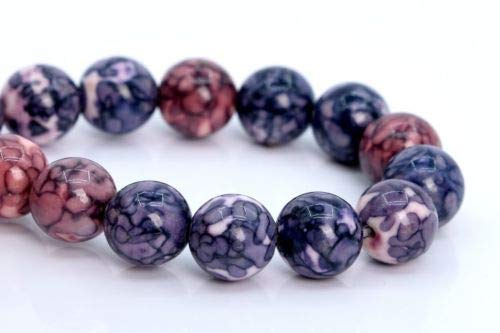 8mm Purple Pink Ink Blue Rain Flower Jade Bead Grade Round Loose Bead 7.5'' Crafting Key Chain Bracelet Necklace Jewelry Accessories Pendants -