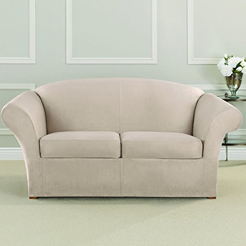 Loveseat Slipcover Box Cushion - Sure Fit Ultimate Heavyweight Stretch Suede Slipcover (Cement, Box Cushion Loveseat)