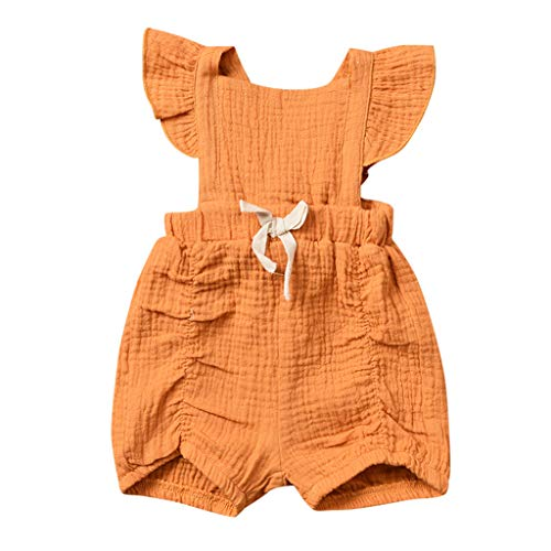 WOCACHI Newborn Infant Baby Girls Solid Bow Romper Bodysuit Sleeveless Clothes Outfits Infant Bodysuits Rompers Clothing Sets Christening Short Sleeve Organic Cotton -