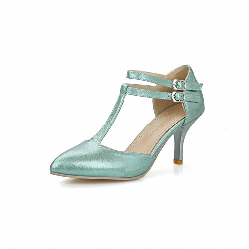 Carol Shoes Chic Womens Buckle T-straps Shiny Sweet Pointed Toe High Stiletto Heel Sandals Blue HxUUqeD
