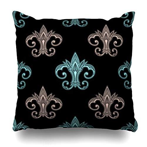 iDecorDesign Throw Pillow Covers Paradise Blue Antique Fleur De Lis Abstract Flower Pink Black Classic Elegance Floral Tile Home Decor Pillow Case Square Size 16 x 16 Inches Pillowcase