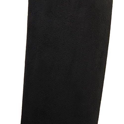 AgooLar Women's High Heels High Top Solid Pull On Boots Black ZPwQTs