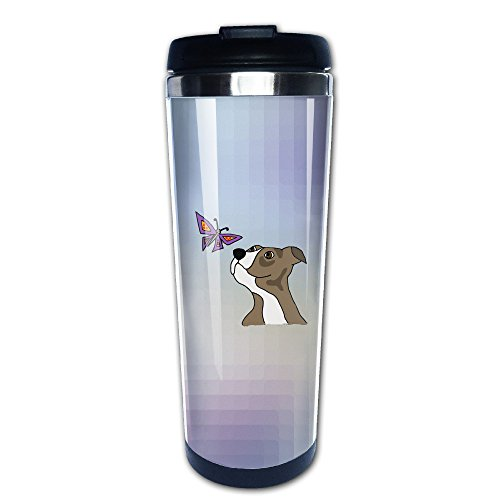 Cool Funny Grey Pitbull Puppy Dog And Butterfly Travel Tumbler