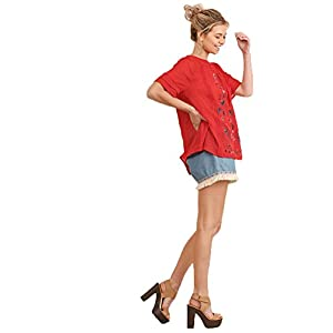 Umgee Women's Short Sleeve Embroidered Blouse