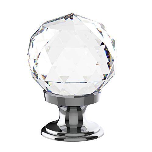 Alzassbg AL1002 Crystal Glass with Chrome Plated, 1-1/5 Inch(30mm) Cabinet Hardware Round Diamond Shape Knobs for Cupboard and Drawer 10 Pack (Glass Chrome Cabinet Knob)