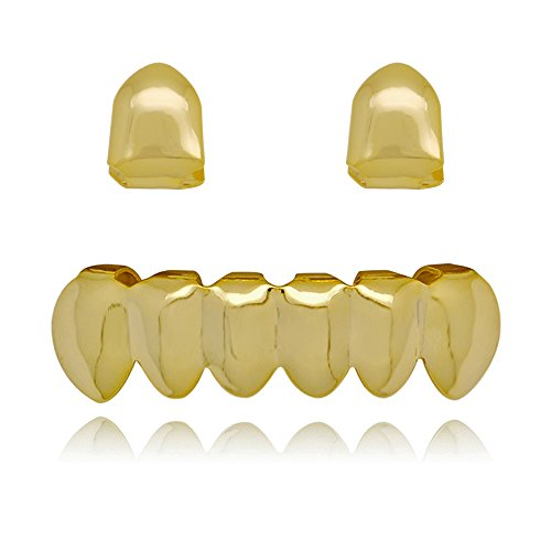 Lureen 14k Gold 2 PC Single Shiny Teeth Grillz and 6 Bottom Set Hip Hop Teeth Grills (Gold)