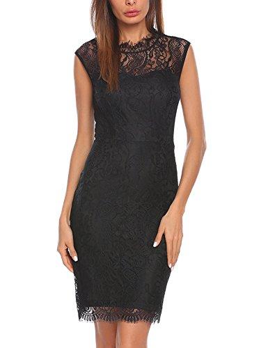 Short Black Lace Dress - 1