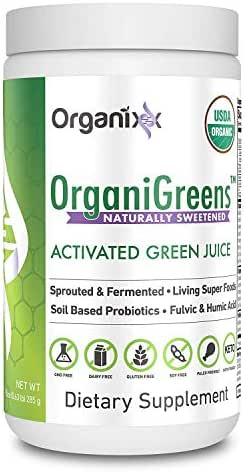 Green Powder Supplement with Probiotics - Organic - 71 Superfoods in 1-4X The Vitamins and Minerals of Other Green Drinks - Organigreens by Organixx (Naturally Sweetened) - 30 Servings