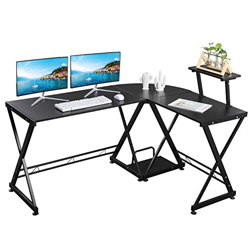 GreenForest L Shaped Office Computer Corner Desk with Storage Shelf PC Table Workstation for Home Office, Black