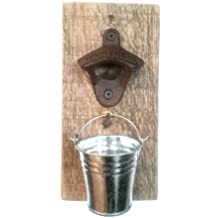 Rustic Wall Mounted Bottle Opener w/Cap Catcher, Father's Day, Bar, Bachelor, Man Cave, Housewarming Gift, Grandfather, Husband, Groomsmen Gift, Anniversary, Beer Lover, Christmas, Independence Day