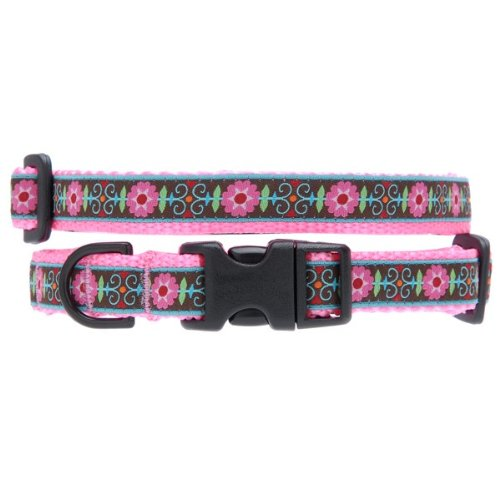 Max & Zoey Flower Dog Collar, Small, Pink
