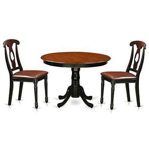 East West Furniture HLKE3-BCH-LC 3 Piece Hartland Set, Black