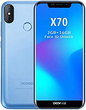 DOOGEE X70 móviles Libres - Pantalla de 5,3 Pulgadas con U-Notch (relación 19: 9), Smartphone Android 8.0 SIM sin Tarjeta, 4000mAh batería, reconocimiento Facial, Quad Core de 2GB + 16GB: Amazon.es: Electrónica