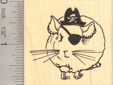 Chinchilla Pirate, Halloween Rubber Stamp