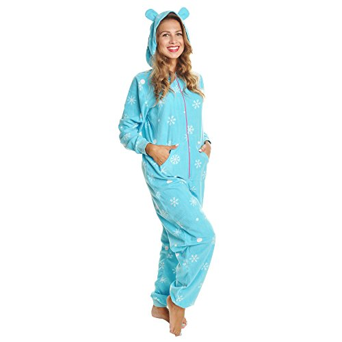 - Angelina Women's Fleece Novelty One-Piece Hooded Pajamas, #1Z_SNOW_SM