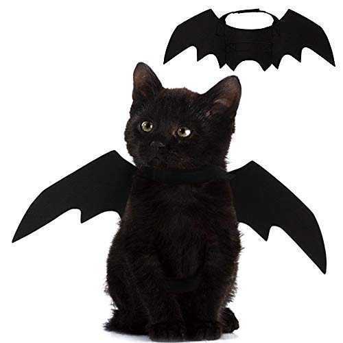 Pet Cat Bat Wings for Halloween Party Decoration, Puppy Collar Leads Cosplay Bat Costume,Cute Puppy Cat Dress Up Accessories]()
