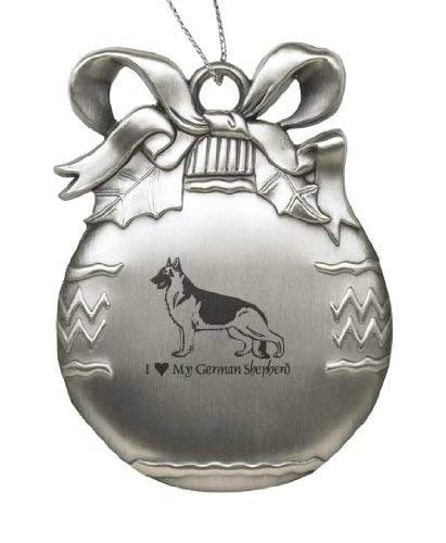 Solid Pewter Christmas Ornament - I Love My German -