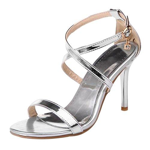 TAOFFEN Women Cross Strap Heels Sandals Shoes Silver