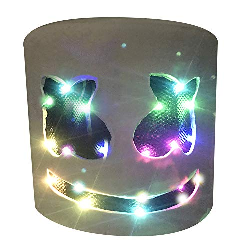 JaCos Led DJ Marshmello Mask with Colorfull Light,Music Festival Full Head DJ Mask Latex (Colorful) ()
