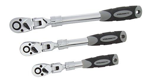 STEELMAN PRO 96753 Extendable Flex-Head Ratchet Set, 3-Piece (Head Extendable Ratchet Flex)