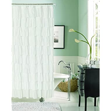 Dainty Home Flamenco Tiered Fabric Shower Curtain, 72 by 72-Inch, White