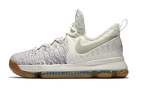 Nike Zoom KD 9 Big Kids' Basketball Shoes/Sneakers (7y (Big Kids), Pale Grey/Ivory/Pale Grey) by NIKE
