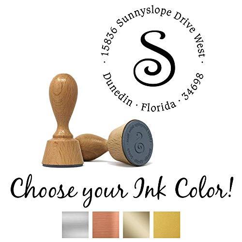 Custom Classic European Hand Stamp with Metallic Ink Pad | Solid Oak European Hand Stamp | Design 5
