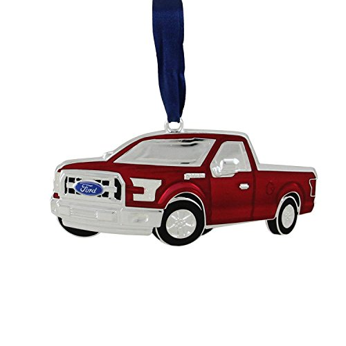 """Ford F150 Collectibles - Northlight 4"""" Officially Licensed Red Ford F-150 Pick Up Truck Collectible Silver Plated Christmas Ornament"""
