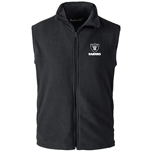 NFL Oakland Raiders Mens Houston Fleece Vest, Black, Large