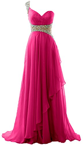 Evening Elegant Chiffon Shoulder MACloth Gown 2018 Fuchsia Prom Dress Formal One Long qHOnz