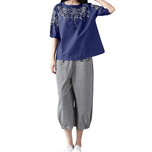 Pleated Brushed Twill Slack - Creazrise Large Size Casual Women's Short-Sleeved Embroidery Top with Cotton and Linen Pants Navy