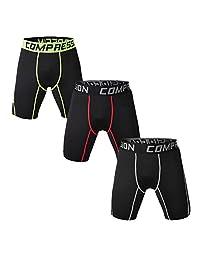 Holure Men's 3 Pack Sport Compression Shorts Performamce Athletic Shorts