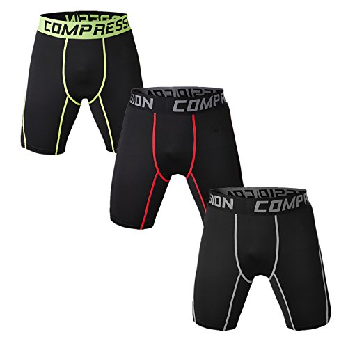 Holure Men's 3 Pack Sport Compression Shorts,Green,red,White,line,XXL (Best Anti Itch Cream For Groin)