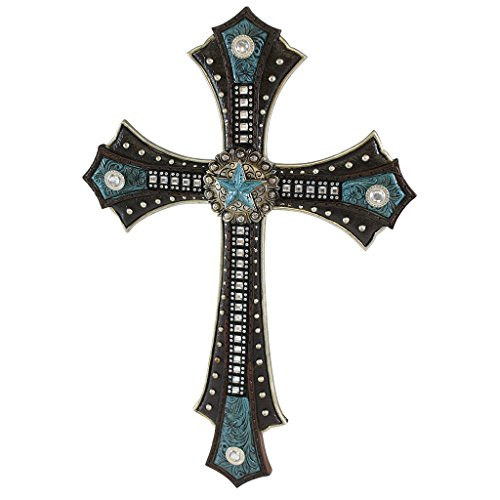 Pine Ridge Western Style Turquoise Star Centerpiece Wall Cross - Intricate Leather Design Celtic Crucifix with Metal Accents - Brown Leather Crucifix Beautifully Hand-painted and - Cross Western Wall