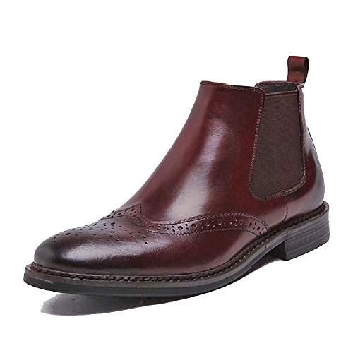 Cover Plus 2 Color US Size 5-12 Genuine Leather Mens Business Formal Suit Dress Wingtip Chelsea Ankle Boots Shoes (US Size 6, - To Australia Delivery Free