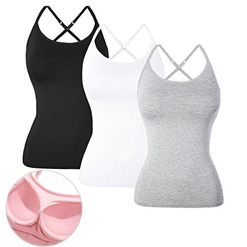 DYLH 3packs Women Comfy Tank Top Camisole Bra Athletic Lingerie Vest Gift Set