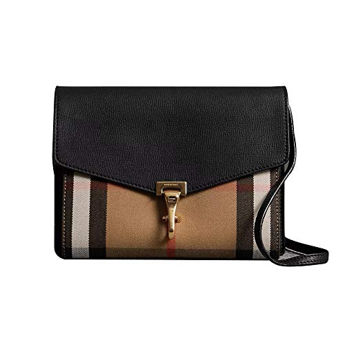 So-Burberry Small Leather and House Check Crossbody Bag (Black)