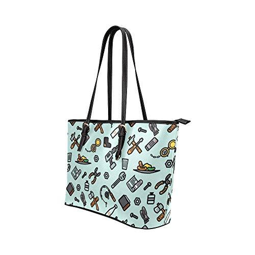 Satchel väska kvinnor tecknad animering verktyg fisknät läder handväskor väska orsaksala handväskor dragkedja axel organiserare för dam flickor kvinnor mode handväskor