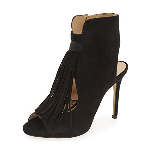 YDN Women Suede Fringes Peep Toe Stiletto Booties Cut-out Ankle High Heels for Casual Dress