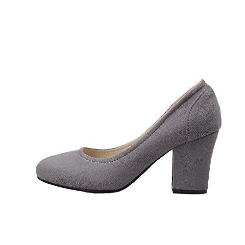 AllhqFashion Damen Mattglasbirne Ziehen auf Rund Zehe Mittler Absatz Rein Pumps Schuhe Grau