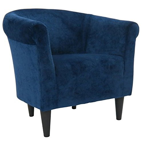 Upholstered Armchair – Accent Barrel Back Chair – Arm Chair for Living Room or Reception – Microfiber Upholstered – Club Seat (Blue) Review