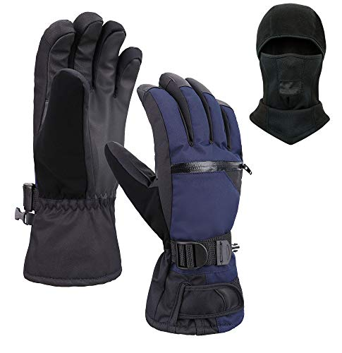 Jasmine Ski Gloves and Balaclava,Winter Warm 3M Insulation Waterproof Snow Gloves and Face Mask for Skiing, Snowboarding, Motorcycling, Cycling, Outdoor Sports