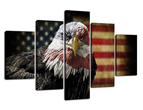 Large Wall Art Picture Eagle American Flag Canvas Painting 5 Piece Rustic USA Flag Posters Patriotic Military Print Artwork Home Decor for Living Room Bedroom Office Framed Ready to Hang - Bald Portrait Eagle