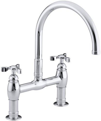 KOHLER K-6130-3-CP Parq Deck-Mount Kitchen Bridge Faucet, Polished Chrome