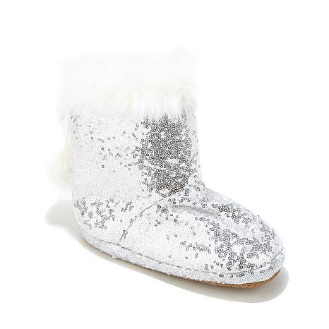 - Soft & Cozy Sequin and Faux Fur Pom Pom Bootie slipper silver size large