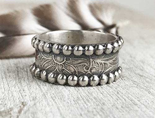 Western Wedding Band - tooled leather band for men - Western Ring Wedding