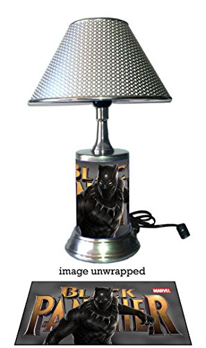 JS Black Panther Lamp with chrome shade, Marvel, Movie - Panthers Desk