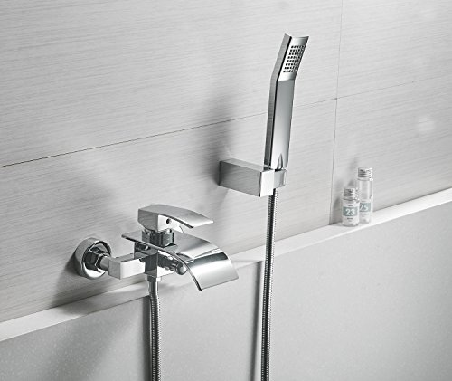 Greenspring Waterfall Wall Mount Bathtub Faucet With Shower Head Bath Tub Mixer Taps Lavatory Bath Shower Faucet with Shower Arm Mount Hole Bathroom Shower System Set Ceramic Valve Included (Bathtub Wall Mount Faucet)