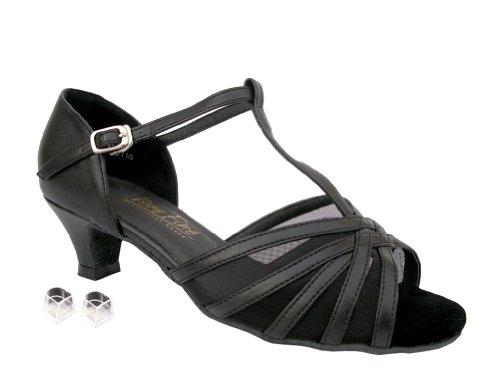 Very Fine Ladies Women Ballroom Dance Shoes EK16612 With 1.3 Heel Black Leather & Black Mesh x9cnNr3LdA