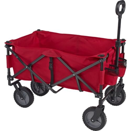 Academy Sports Outdoors Folding Sport Wagon with Removable Bed Rolls well on grass gravel and even mud (Red) by Academy Sports